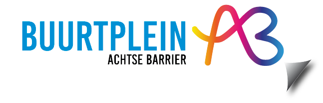 Logo Buurtplein Achtse Barrier met omgevouwen hoekje